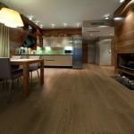 Verouderde Eiken houten vloer, gerookt en geschaafd wat een uniek resultaat geeft in combinatie met naturola vloerolie.