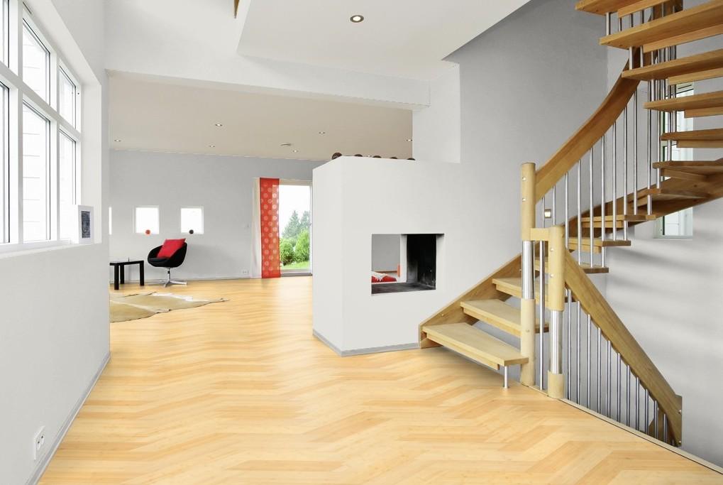 Bamboe weense punt baltussen parket - Moderne betegelde vloer ...